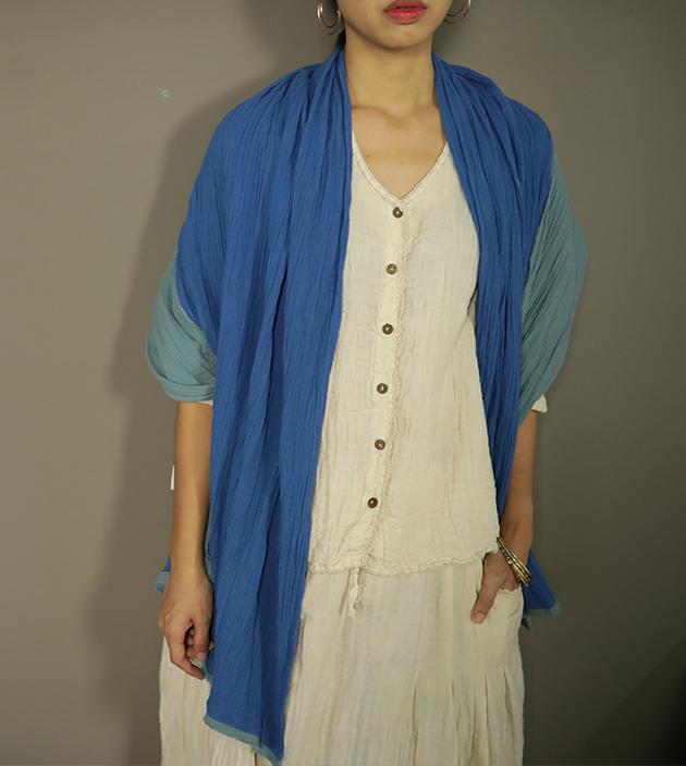 雙色棉長巾 2