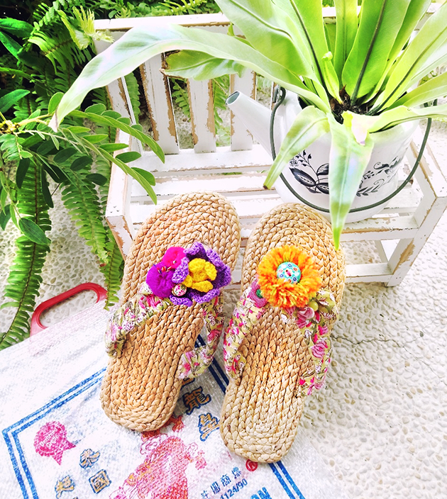 手編水草鞋.粉綠 2