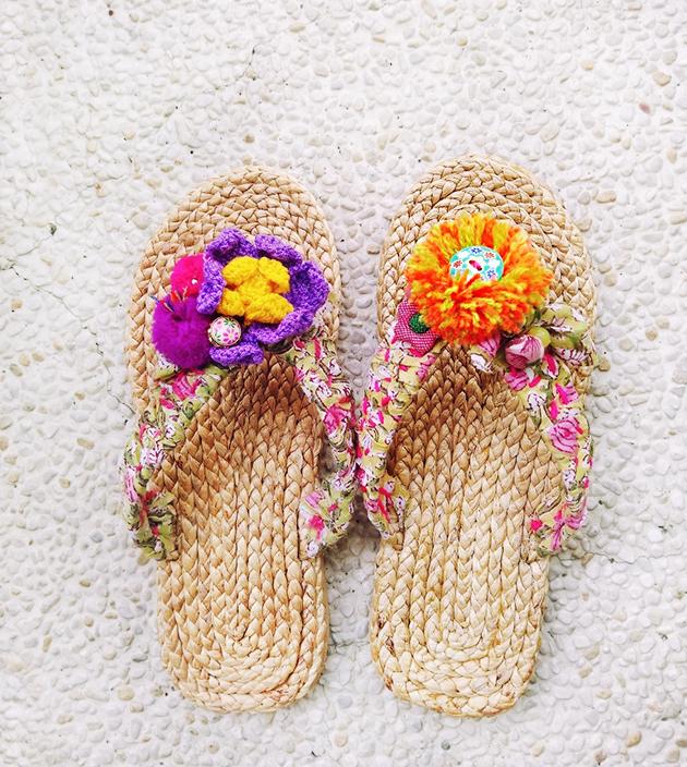 手編水草鞋.粉綠 3