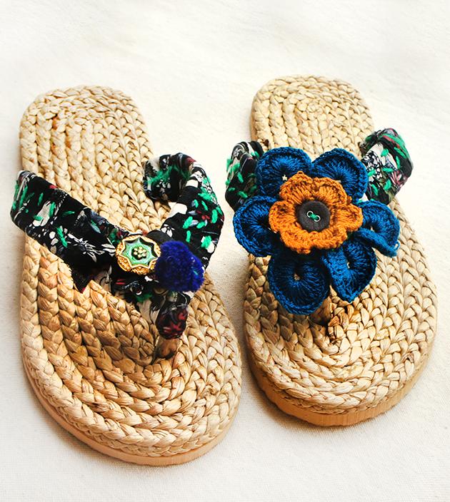 手編水草鞋.黑綠 1
