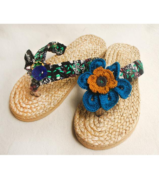 手編水草鞋.黑綠 2