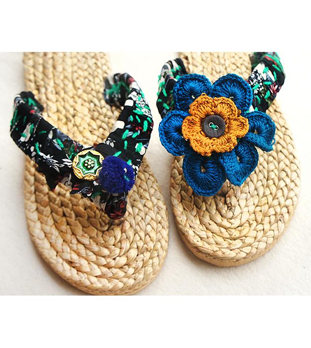 手編水草鞋.黑綠 3