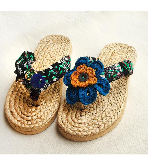 手編水草鞋.黑綠 5