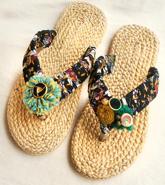 手編水草鞋.金黑 1