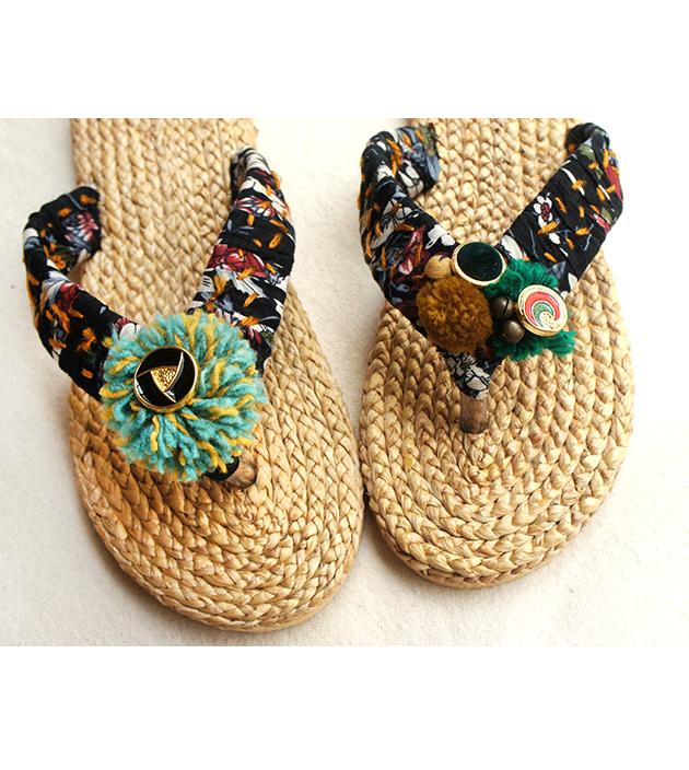 手編水草鞋.金黑 2
