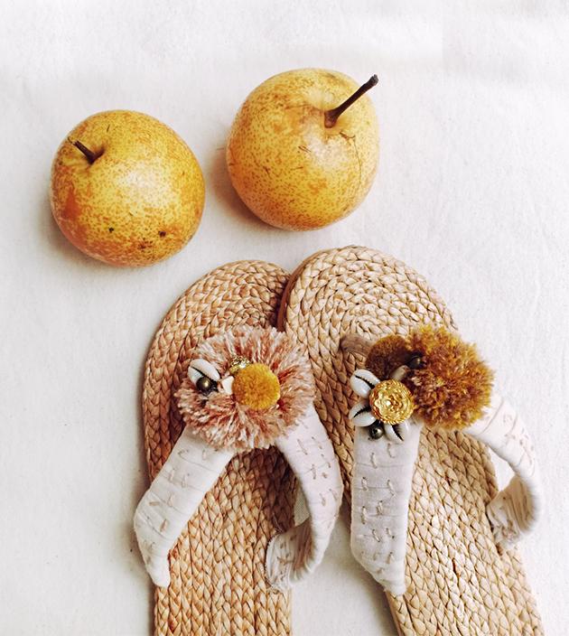 手編水草鞋.素米 1