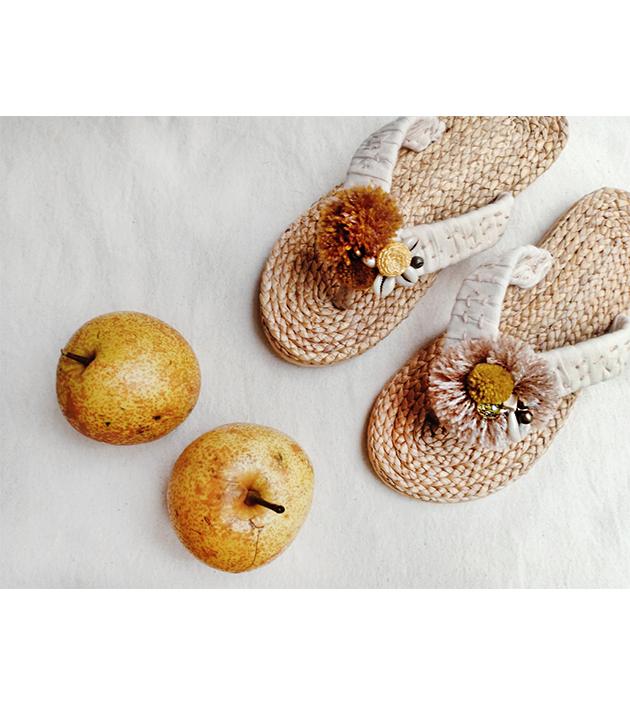 手編水草鞋.素米 2
