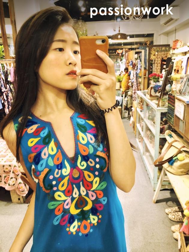 繡花連身裝.彩藍 5