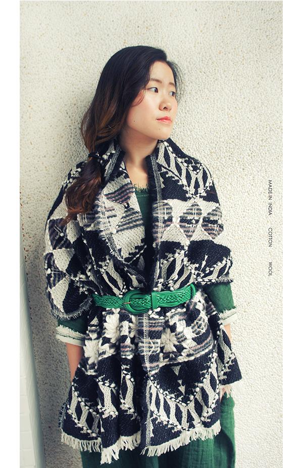 羊毛刺繡巾.喀米 1