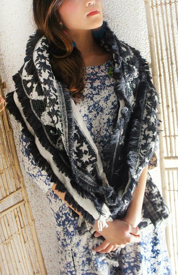 羊毛刺繡巾.楓暖 5