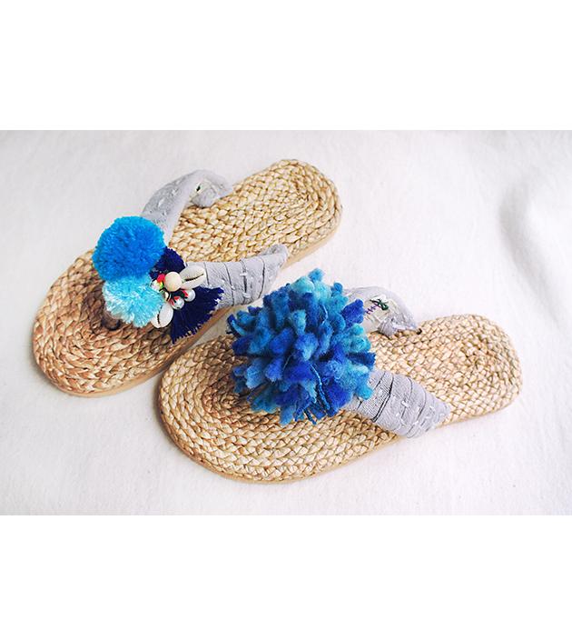 手編水草鞋.素灰 4