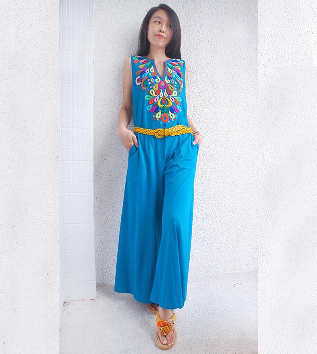 繡花連身裝.彩藍 3
