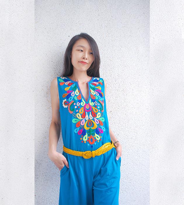 繡花連身裝.彩藍 4