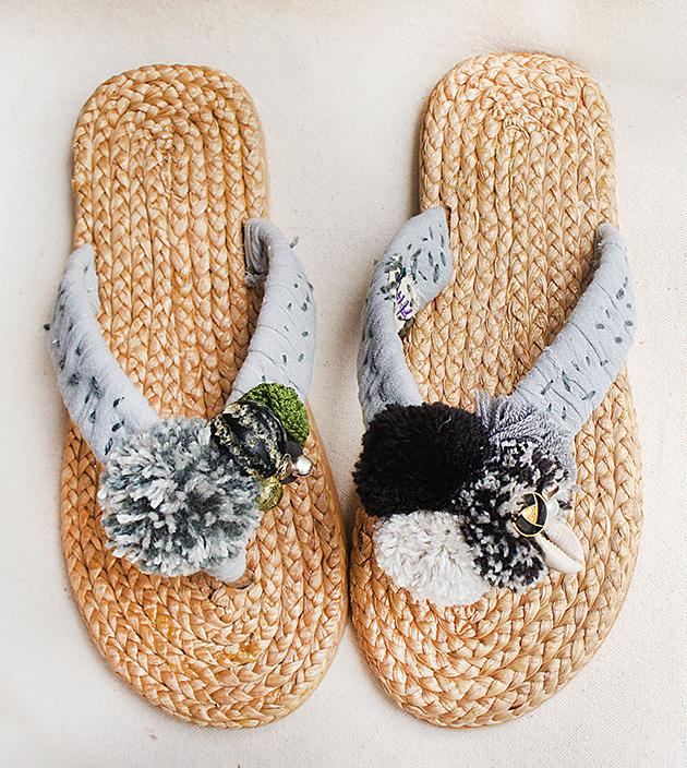 手編水草鞋.素灰 1