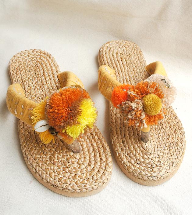 手編水草鞋.素黃 1