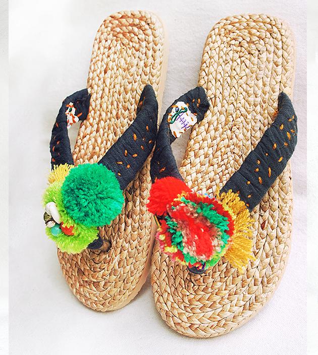 手編水草鞋.素黑 2