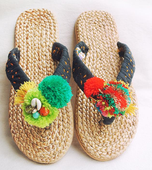 手編水草鞋.素黑 1