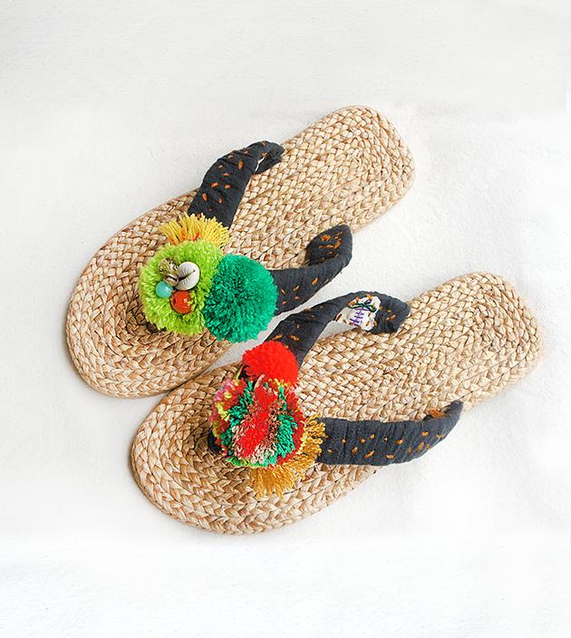 手編水草鞋.素黑 3