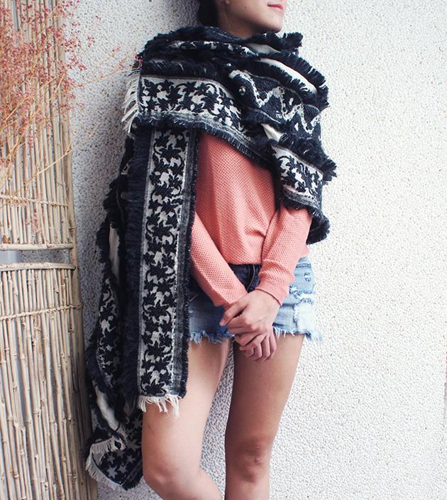 羊毛刺繡巾.楓暖 1