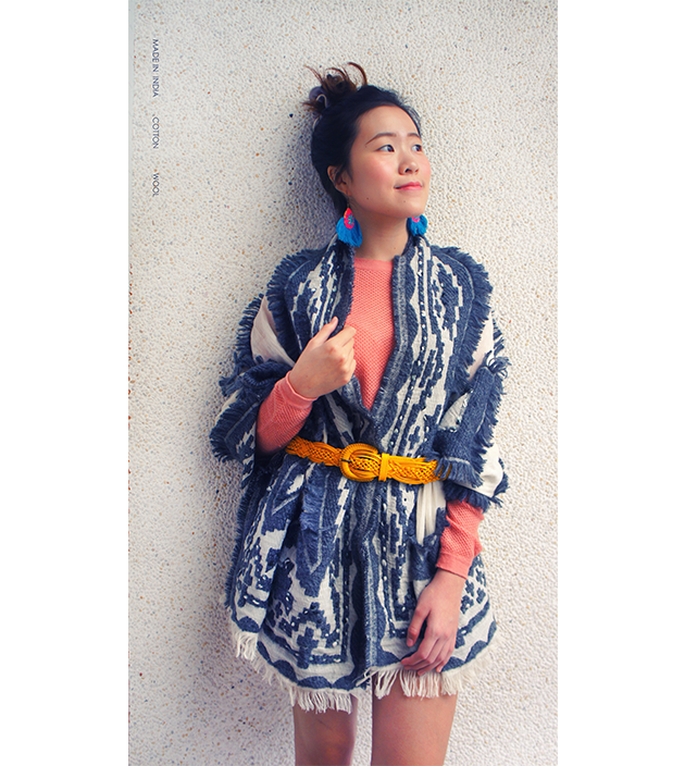 羊毛刺繡巾.灰羽 1