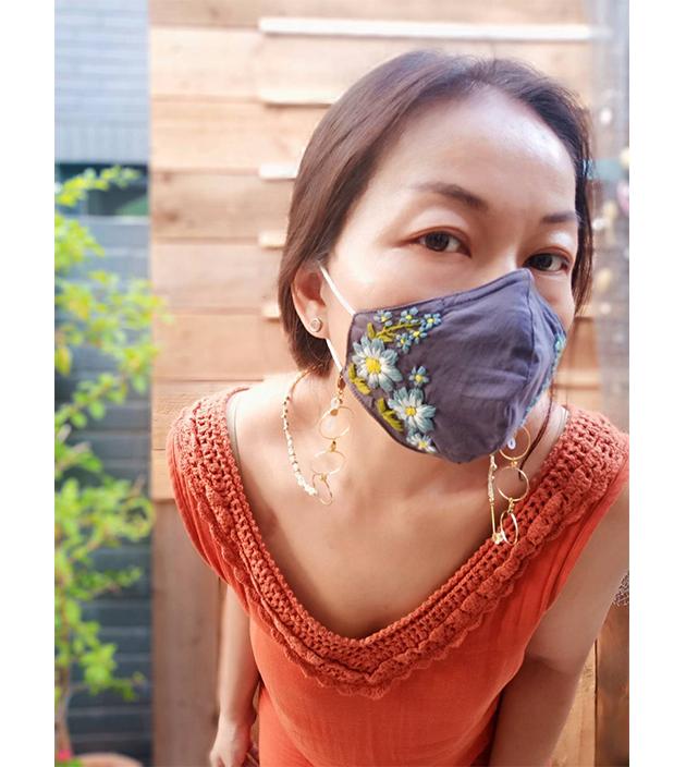 手繡棉布口罩 3