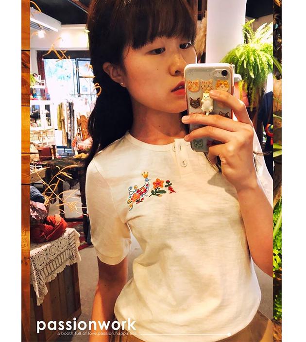 動物刺繡棉T 3