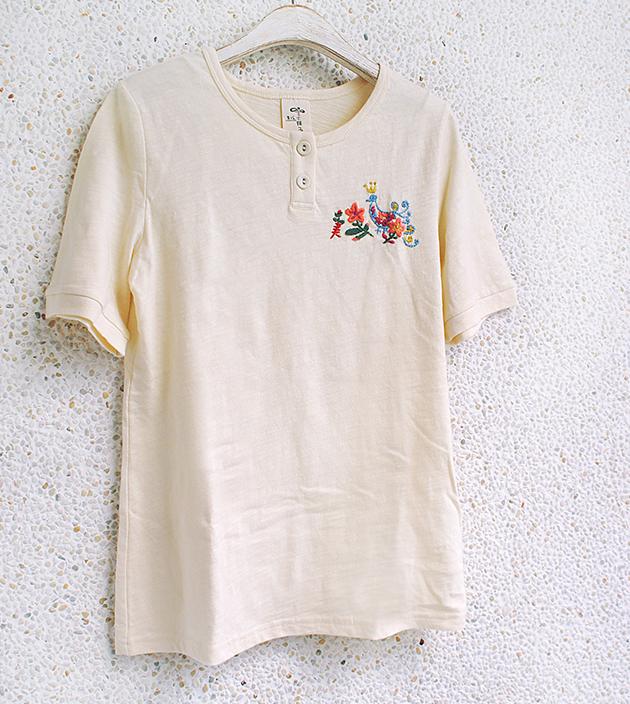 動物刺繡棉T 5